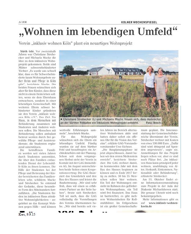 Kölner Wochenblatt September 2015