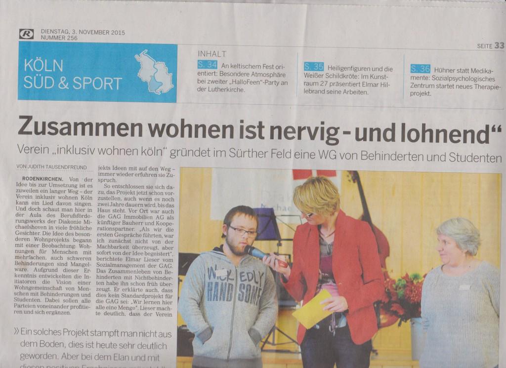 Kölnische Rundschau 3.11.2015 / Teil 1
